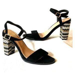 REPORT Alfie Black Velvet Woven Heel Size 7.5